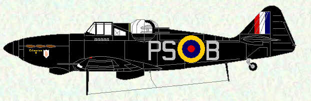 Defiant of No 264 Squadron as flown by F D Hughes.