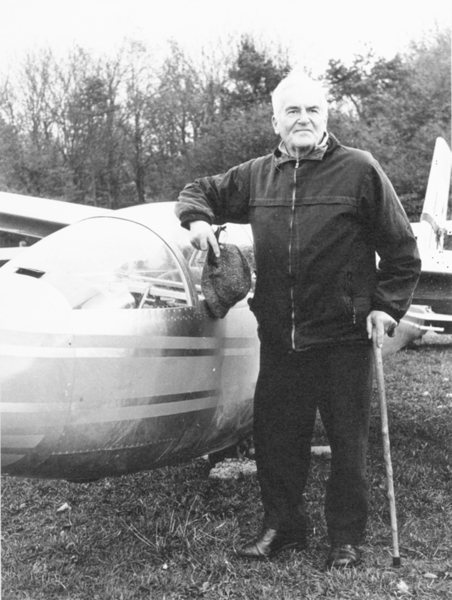 Air Commodore Arthur Wray standing beside his glider.