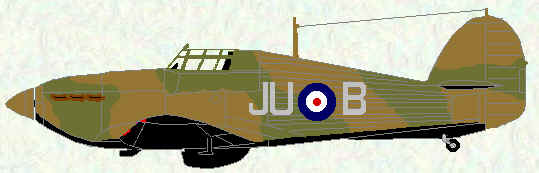 Hurricane I of No 111 Squadron (1939 coded JU)
