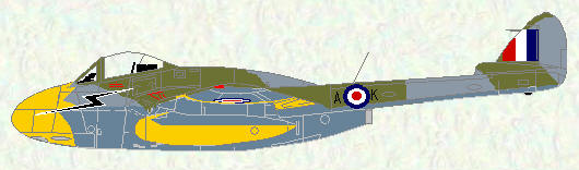Vampire FB Mk 5 of No 118 Squadron (day fighter - high flying scheme)