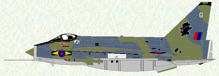 Lightning F Mk 6 of No 11 Squadron (Grey/Green scheme)