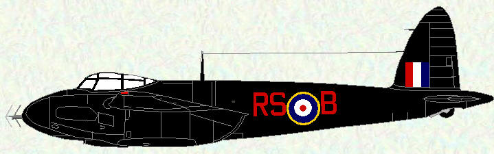 Mosquito II of No 157 Squadron (early all black scheme)