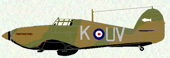 Hurricane I of No 17 Squadron (Coded UV)