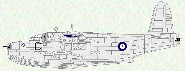 Sunderland I of No 210 Squadron (natural metal)