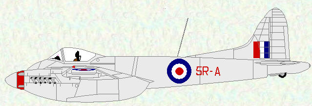 Hornet F Mk 3 of No 33 Squadron (Natural metal finish coded 5R)