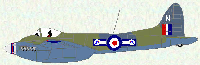 Hornet F Mk 3 of No 45 Squadron (only example to display fighter type bars)