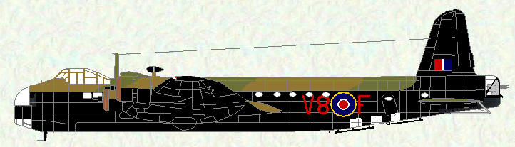 Stirling IV of No 570 Squadron (coded V8)