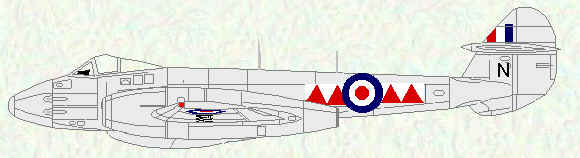 Meeor F Mk 4 of No 600 Squadron (Red/White squadron markings)