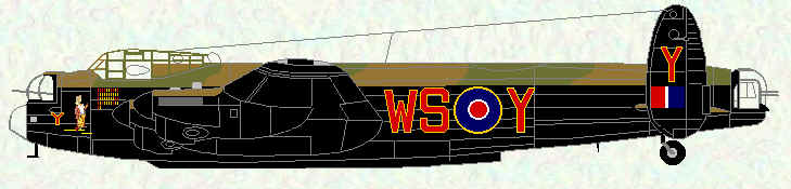 "Lancaster I of No 9 Squadron (with modified bomb bay to carry 12,000lb ""Tallboy"")"