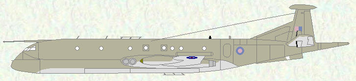 Nimrod MR Mk 2P (Hemp/grey scheme), aircraft being centrally pooled