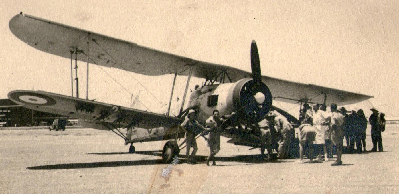 Effect of a bad landing. One of B flight 825 Sqn machines at  D&R Leila ?- July 1939
