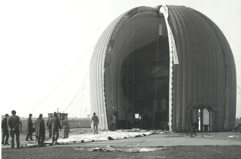 A series of photos taken to show the replacement of one of the panels protecting the S259 radar at RAF Wattisham in 1976